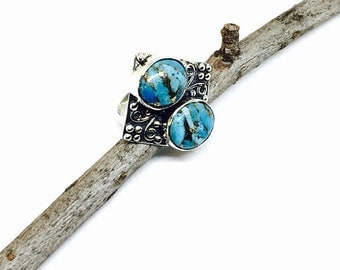 10% Turquoise ring set in sterling silver 92.5. Blue mojave turquoise. Natural authentic stone. Size-8