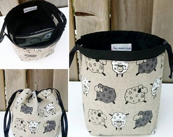 Knitting Bag in Sheep Print Linen, Sock Knitting Project Bag, Sock Project Bag for two at a time sock knitting - Sock sack
