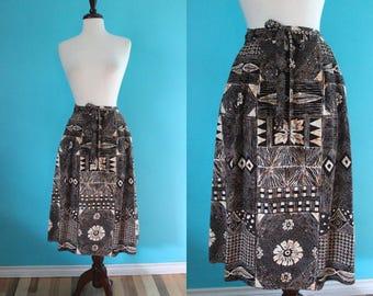 Hawaiian Skirt    70's Tapa Print Cotton A-Line Wrap Skirt Tiki Skirt Luau Skirt