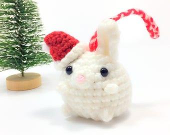 Crochet Amigurumi Cute Kawaii Bunny Rabbit Small Stuffed Animal Accessory Christmas Tree Holiday Handmade Gift Ornament Office Decor Cute