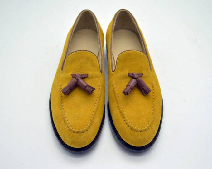 Yellow Suede Handmade Goodyear Welted Men's Tasseled Loafer Shoes