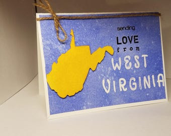 Sending LOVE from West Virginia Handmade Card