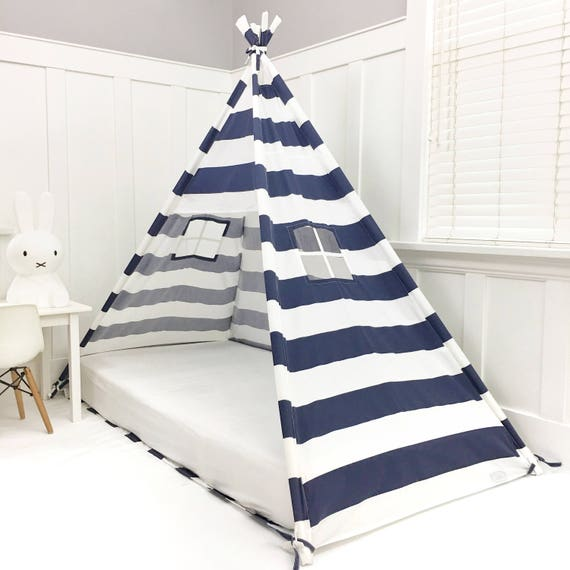Play Tent Canopy Bed in Navy Blue and White Stripe