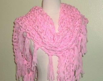 On Sale- Crochet Shawl Triangle Pink Mesh Lace Bridal Wedding Wrap Scarf Boho Summer Wrap