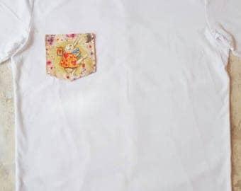 Alice in wonderland, white rabbit, tshirt, womens tshirt, floral, custom shirt, custom clothing, unique tshirt, gift for her, ladies shirt