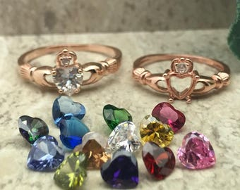 Claddagh Ring, Rose Gold Plated Sterling Silver Irish Claddagh Ring, Engagement Ring,Custom Birthstone Ring, Love Loyalty & Friendship Ring