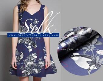 Dark Purple Silk Bird fabric 118x115cm achat tissu asiatique