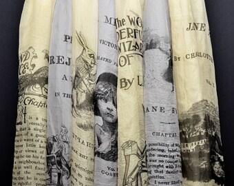 Light Chiffon BOOK scarf, Alice in Wonderland, Pride and Prejudice, Jane Eyre, Raven, Wizard of OZ, Les Miserables, Hamlet, Sherlock Holmes