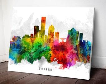 Milwaukee Skyline Canvas print, Milwaukee Art, Milwaukee Cityscape, Milwaukee Decor, Home Decor, Gift Idea, USWIML12C