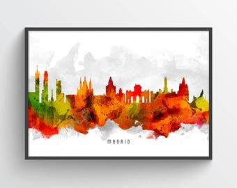 Madrid Poster, Madrid Skyline, Madrid Cityscape, Madrid Print, Madrid Art, Madrid Decor, Home Decor, Gift Idea, ESMD15P