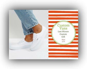 Last Minute Custom Vans Women's Christmas Gift Bride's Love Story Shoes Hand Painted Shoes Women's 8.5 White Vans Wedding Vans Wedding Gift