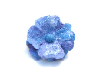 Wool Brooch Blue Flower Brooch Hairclip Dual Fixing Irridescent Pure Wool Merino and Silk Rustic Woollen Flower Hand Felted Flower accessory