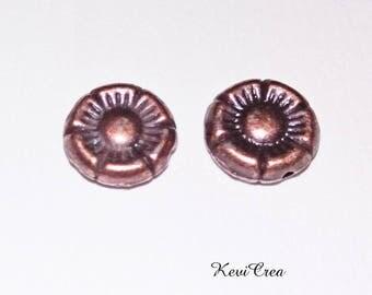 10 x 10mm flower copper metal beads