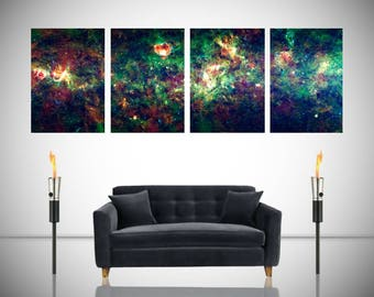 Milky Way Panoramic Astronomy Space Galaxy Spectacular Detail Giant Poster in 4 Pieces Wall Art Print