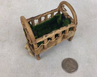 Vintage doll size rustic crib, dollhouse bed, tiny bed, Fairylite miniature crib