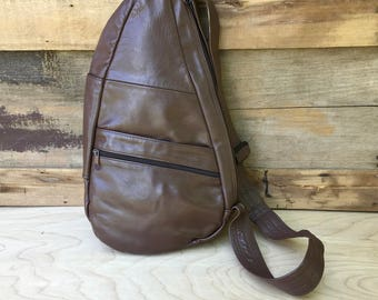 90s Backpack Brown Leather Crossbody