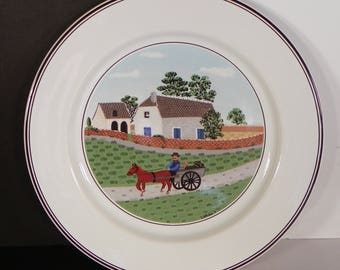 Villeroy & Boch Design Naif Salad Plate Country Scenes GOING TO MARKET
