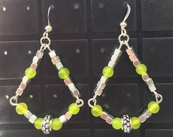 Peridot and Tibetan Silver Cube Bead Earrings