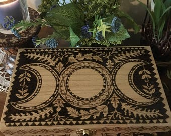 TripleMoon Rising Woodburned  Box