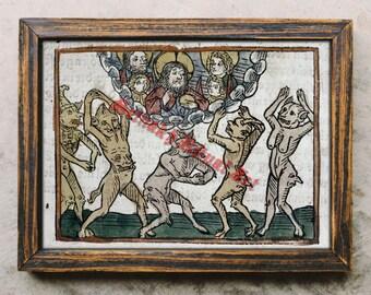 Devil print, angry demons poster, satanic art, Satan, Lucifer, Hell, occult illustration, Satanic decor #492