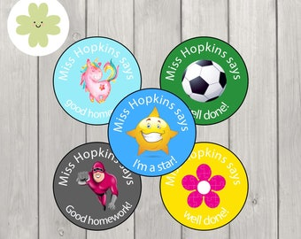 Custom teacher stickers as personalised reward labels suitable for schools and classrooms positive behaviour