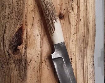 Knife blade forged antler