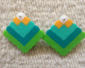Colorful Square Hook Earrings