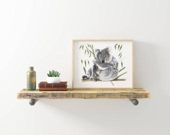 "8x10"" Koala Print - Australian Wildlife - Koala Art Print - Australian Nursery Print - Kids Decor"