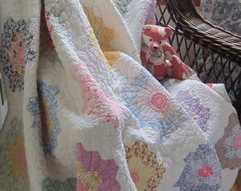 "Spectacular Vintage Grandmothers Flower Garden Quilt 61X69"""