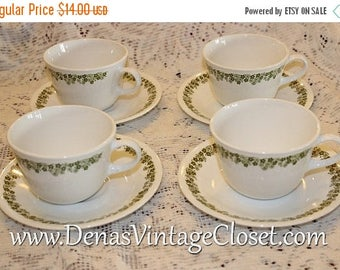 20% Off Sale 1980's Vintage Corelle Spring Blossom Cups and Saucers Lot of 4