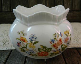 Cottage Garden John Aynsley English Bone China Butterfly & Flowers Rose Bowl