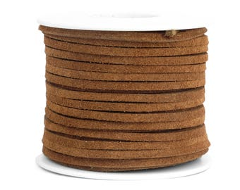 Suede Lacing - (1) 25 yard (75 foot) spool, 1/8th inch lace. Medium Brown Suede lace. (3218x25MB)
