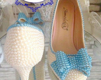Pearl shoes wedding shoes bridal prom custom women's shoes