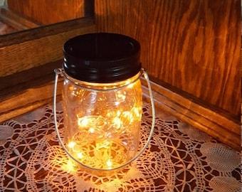 August Sales Event Mason Jar Solar Lid Light - Orange - Angel Lights - Firefly Lights - solar mason jar, mason jar light, fairy lights, maso