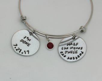 Custom Hand Stamped, Custom Bracelet, Retirement Jewelry, Custom Jewelry, Charm Bracelet, Charm Jewelry, Retirement Gifts For Women