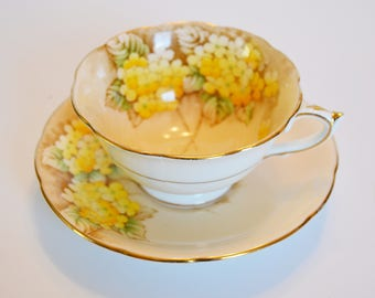 Paragon Yellow and Gold Gilt Bone China Floral Teacup and Saucer - Double Warrant - Hand numbered circa 1930s