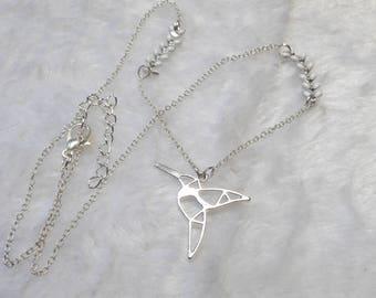 Silver necklace white origami Hummingbird