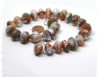 Rustic Gold and Silver Paper Beads, DIY, Eco-friendly, Destash, Craft Supplies, Boho Chic Components, Jewelry Supplies,