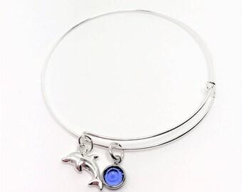 Dolphin Charm Bangle Adjustable Bangle Birthstone Bracelet Sterling Silver Bangle Charm Bracelet Personalised Bangle Unique Gift for Her