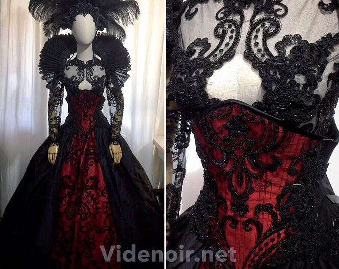 Gothic handmade dress with luxury beaded lace in silf taffeta fabric