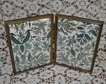 Brassy Gold Vintage Double Picture Frame, Double Picture Frame