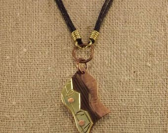 Brass, Wenge Wood and Copper Pendant