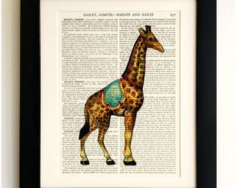 FRAMED ART PRINT on old antique book page - Giraffe, Vintage Upcycled Wall Art Print Encyclopaedia Dictionary Page