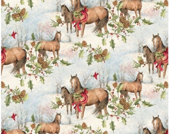 Christmas Horses Scenic Fabric By Springs Creative Fabric Sold By The Half Yard In One Continuous Cut