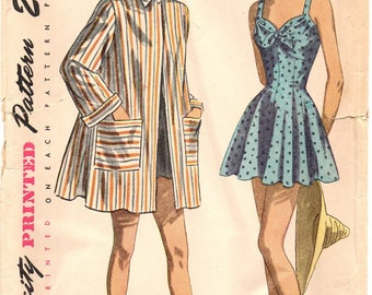 Simplicity 2441 Hot Tamale Retro Bathing Suit & Beach Coat / ca. 1948 SZ14 B32 UNCUT