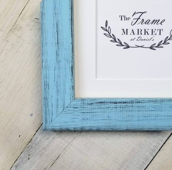 Blanaid Light Blue Distressed Wood Picture Frame With