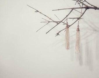 Long tassel earrings Rose fringe earrings Rose gold tassel earrings Statement jewelry Bridesmaid gift
