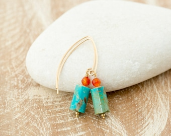 Natural Turquoise Stone Earrings/Turquoise Earrings/Raw Turquoise Earrings/December Birthstone