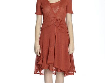 Sale. Summer transparent coral linen dress, M size.