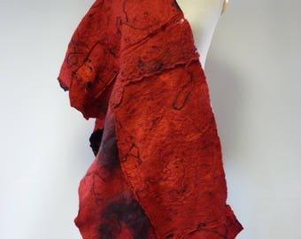Boho Winter red felted shawl. Perfect for gift.